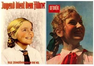 Даже после разгрома фашистской Германии стилистическое сходство двух режимов вновь и вновь напоминало о себе. Обратите внимание, что на обоих изображениях схожим является не только передний план, но и фон из толпы людей.