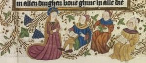 Миниатюра XV века «Св. Екатерина с философами»