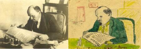 Фото 1918 года «Ленин читает газету «Правда» и рисунок чувашского школьника, сделанный в 1930 году