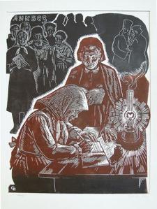 """Петр Сизов. Литогравюра """"По пути Ленина"""" 1977 год"""