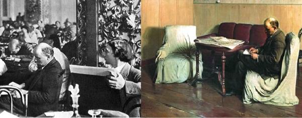 """Фото И.И. Бродский, рисующий В.И. Ленина (1921) и картина """"Ленин в Смольном"""" (1930)"""