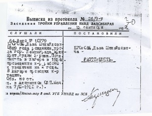 """Расстрельный протокол одной из """"троек"""" НКВД"""