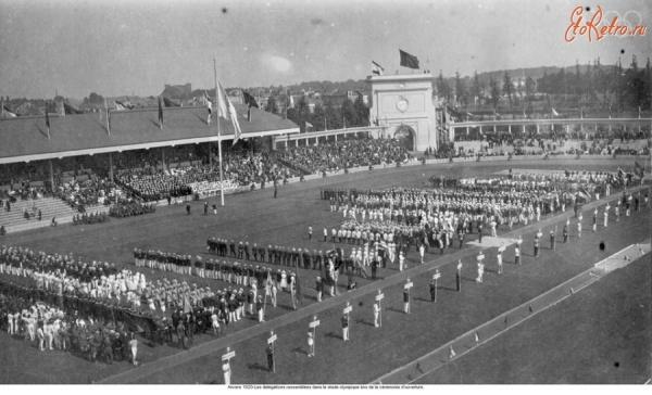 Открытие Олимпиады в Антверпене. 1920 год