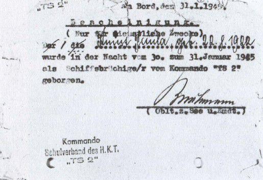 """Справка, выданная Пауле Кнуст командиром сторожевого корабля """"TS-2"""", подтверждающая, что она была спасена при кораблекрушении в ночь с 30 на 31 января 1945 года"""