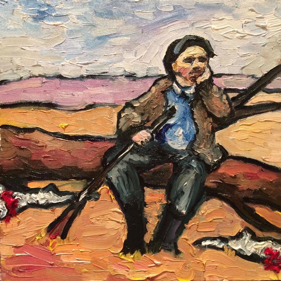 """С.Денисов. """"Ленин возле забитых зайцев"""". Историческая миниатюра."""