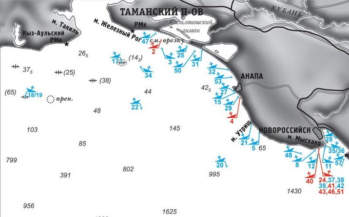 """Под №20 указано место затопления """"Днепра"""""""