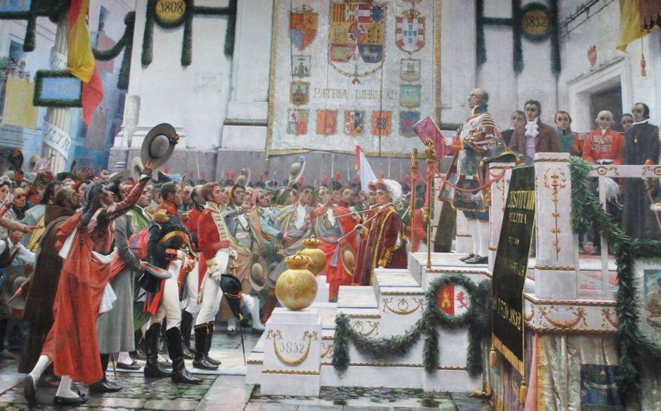 Испанский король Фердинанд провозглашает конституцию кортесов