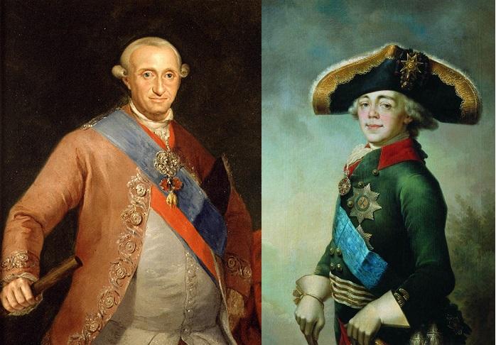 Зачинщики Русско-Испанской несостоявшейся войны Карл IV и Павел I