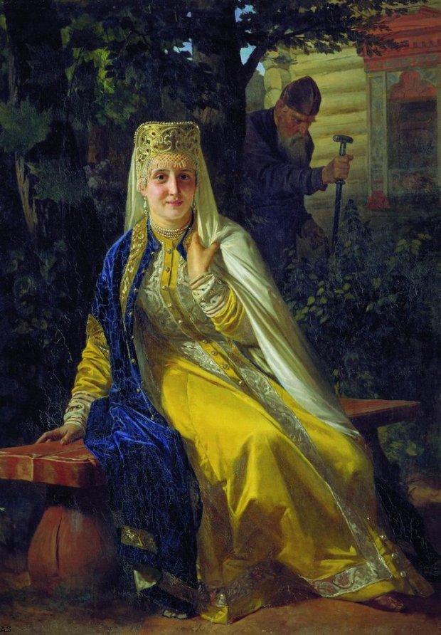 О том, как выглядели жены Ивана Грозного, известно только по немногочисленным описаниям современников. Художник Николай Неврев представлял Василису Мелентьеву и надвигающегося на нее разгневанного царя именно такими
