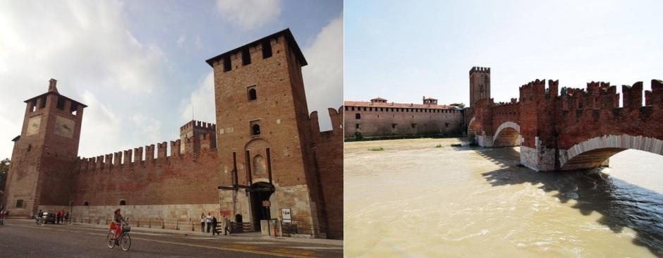 Замок Кастельвеккио и мост через , Верона