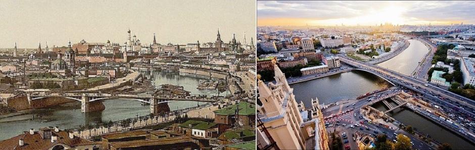 Старый и новый Большие Устьинские мосты. На месте деревянных домов со старой открытки сегодня стоит сталинская высотка