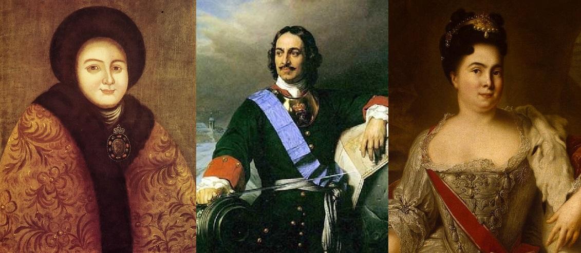 Петр I и его жены: Евдокия Лопухина и Екатерина I. Супружеской верностью не отличалась ни одна