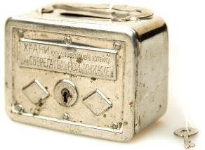 Металлическая агитационная копилка для мелочи, 1920
