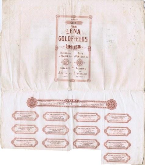 """Литография Roberts & Leete, Ltd, Лондон. : Акционерное общество """"Ленские золотые прииски"""", свидетельство на предъявителя на 25 акций, в 1 фунт стерлинго"""