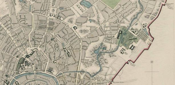 И её фрагмент - хорошо видны Кремль, улицы Покровка, Старая и Новая Басманный и - в конце справа - Семеновская застава