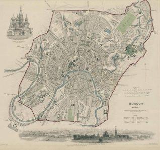 Карта Москвы середины XIX века