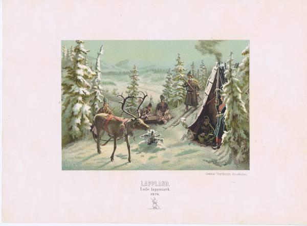 Цветная литография «Лапландия. Лулле лаппмарк», 1870