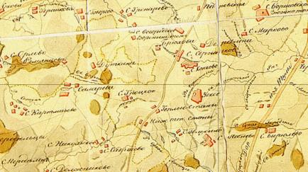 Село Троицкое на карте 1812 года. Хорошо видны постоялые дворы по обе стороны дороги в районе села Тёплые станы (здесь согревались и останавливались на постой извозчики - перевозчики грузов), а также церковь (красный квадратик ниже прудов) и - по другую сторону пруда - само село Троицкое (ошибочно названо на карте Троцкое) с барской усадьбой.