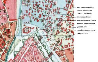 Городская усадьба Салтыковых на карте 1804 года с пояснениями местонахождения современных улиц.