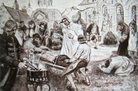 Изображение расправы помещицы Подольского уезда Д.Н. Салтыковой над крестьянами. П.В. Курдюмов. 1911