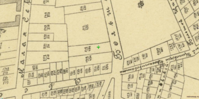 Фрагмент карты Москвы 1911 года с обозначением участка, принадлежавшего Вере Беклемишева (отмечен крестиком)