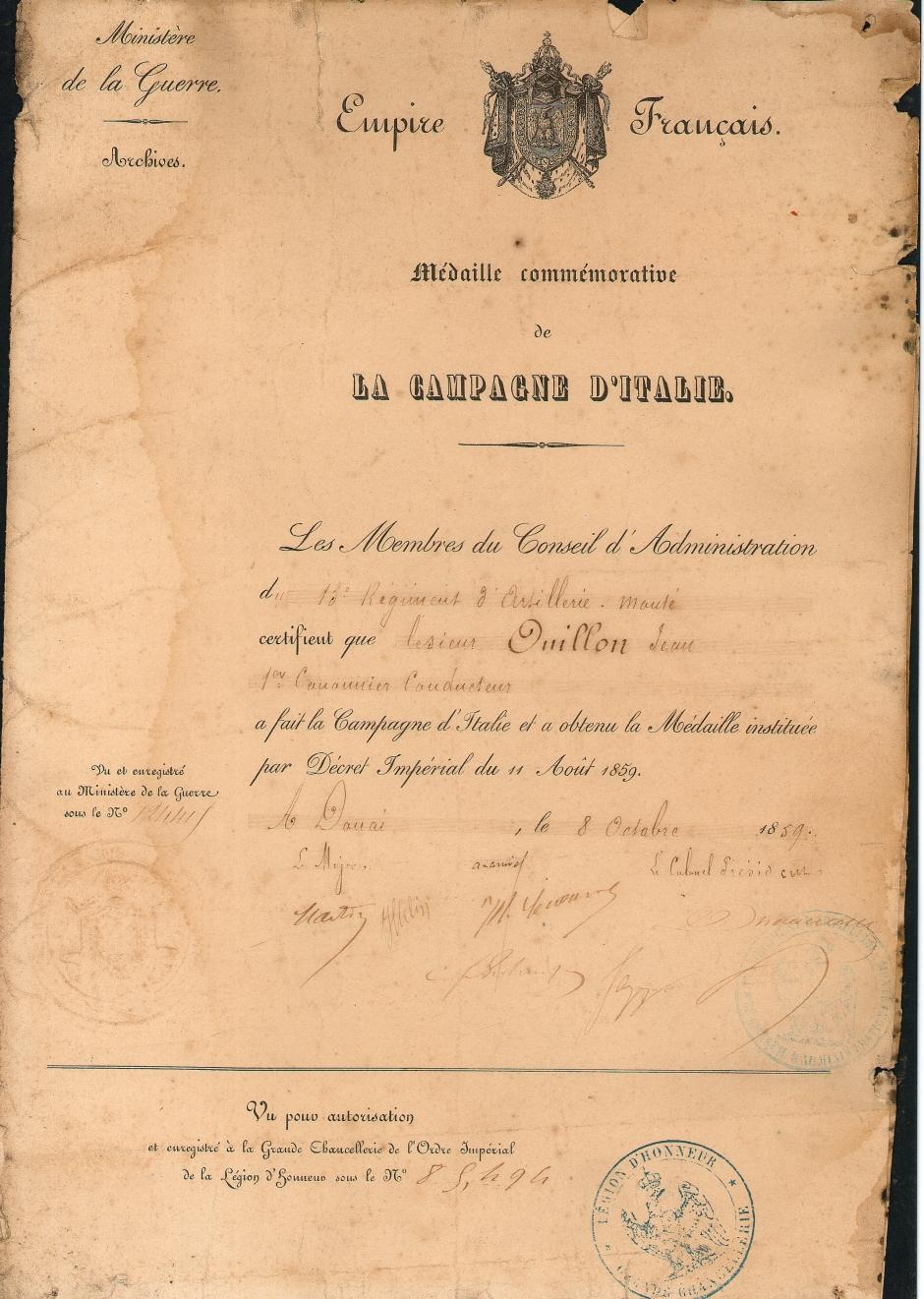 Диплом Onillon Jean к «Памятной медали за итальянскую кампанию 1959 г.