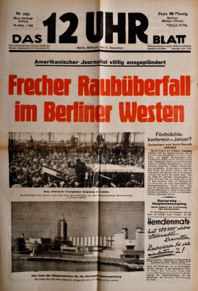 """Берлинская газета """"12 часов дня"""", которую возглавлял Курт Рисс до 1933 года."""