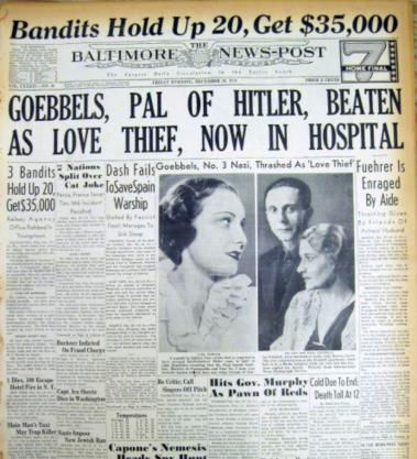 """Передовица газеты """"Балтимор Ньюз Пост"""" за 30 декабря 1938 года со статьёй о сексуальном скандале Геббельса и Лиды Бааровой. Из коллекции """"Маленьких историй"""""""